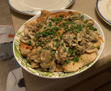 Turkey Cutlets with Mushrooms and Capers
